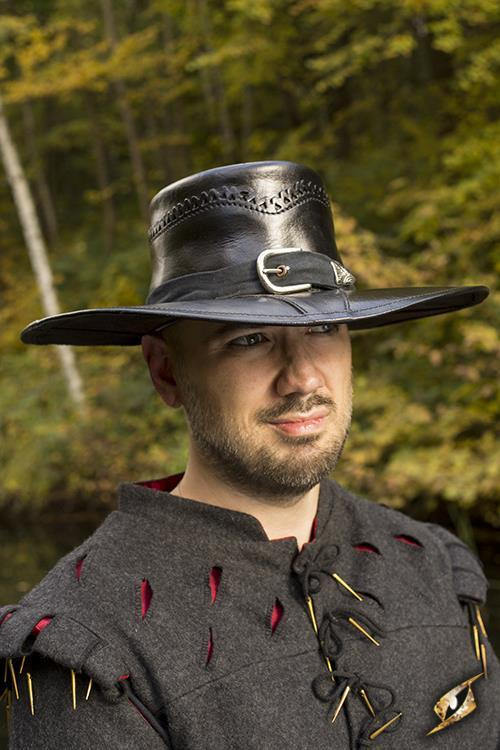 Witch Hunter Hat, Leather, Black