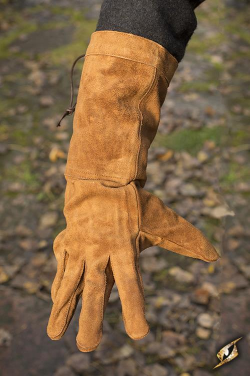 Leather Gloves, Suede, Brown