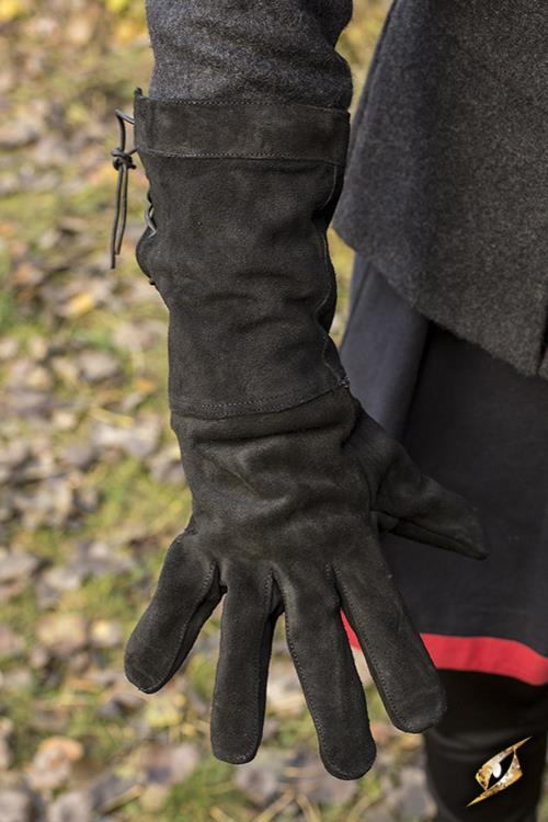 Leather Gloves, Suede, Black
